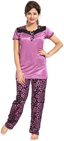 TUCUTE Women s Girls Satin Nighty Nightwear- Top   Pyjama Set Beautiful  Heart Print 52573af3a