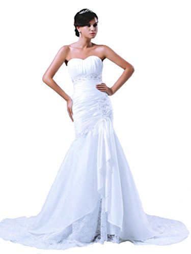 RohmBridal Beaded Taffeta Mermaid Wedding Gown With Lace Underlay White 4