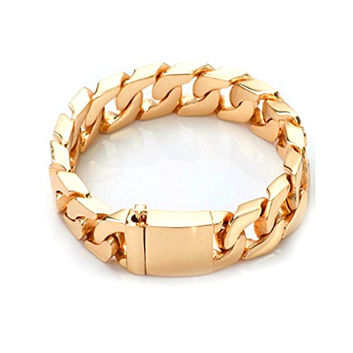(14K Gold Cuban Link Chain Bracelet for Men Real 14MM, 14K Karat Diamond Cut Heavy w Solid Thick Clasp US Made 8 INCH...)