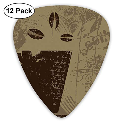 Guitar Picks 12-Pack,Grunge Weathered Mug Silhouette With Aromatic Java Beans For Breakfast