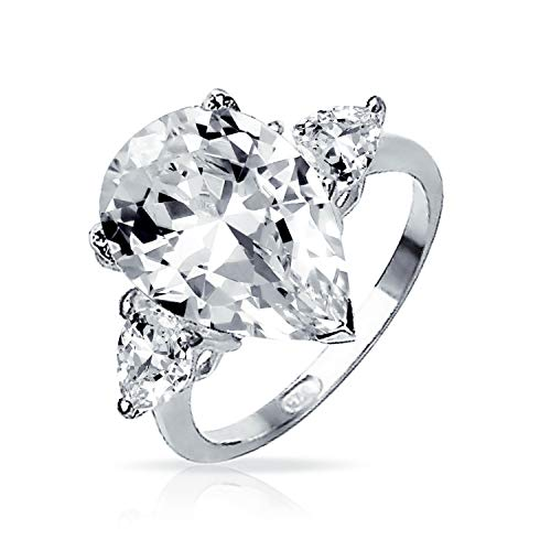 7CT Cubic Zirconia 925 Sterling Silver Trillion Side Stones Brilliant Cut AAA CZ Pear Shaped Statement Engagement Ring