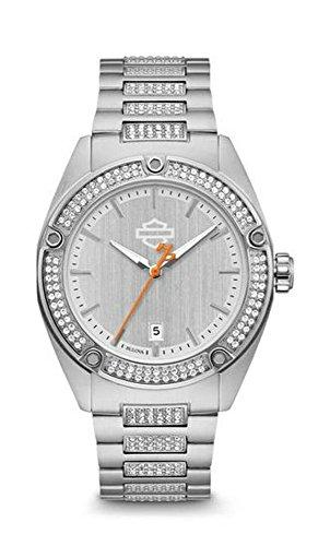 Bracelet Harley Davidson White (Harley-Davidson Women's Crystal Embellished B&S Stainless Steel Watch 76L187)