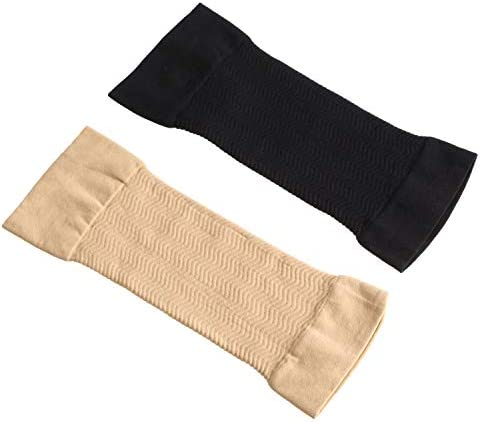 4 Pairs Slimming Arm Sleeves Arm Elastic Compression Arm Shapers Sport Fitness Arm Shapers for Women Girls Weight Loss (Black and Nude Color) 2