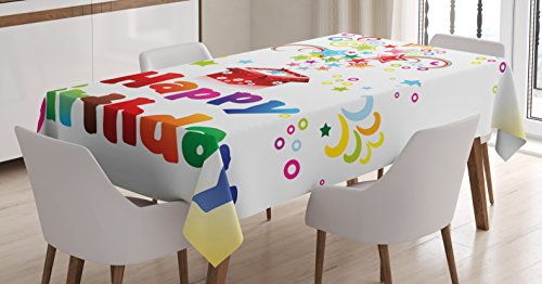 Birthday Decorations Tablecloth by Ambesonne, Stars Swirls Spirals Circles Coming Out of Present Surprise Happiness, Dining Room Kitchen Rectangular Table Cover, 60 W X 84 L Inches, Multicolor (Swirl Present)