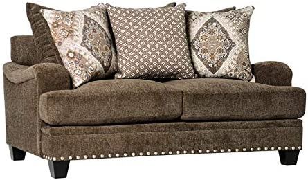 Furniture of America Katy Chenille Pillow Back Loveseat