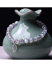 Natural Moonstone Bead Armband Chakra Healing Crystal Stretch Bracelet 925 Silver Lucky Charms Trek Good Geluk Rijkdom Love Bangle Cadeau voor Vrouwen/Mannen AnimeFiG