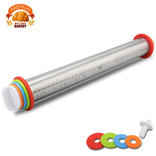 S4 Rolling Pin Spacers French Rolling Pins for Baking Adjustable Rolling Pin with Thickness Rings Dough Roller for Cookie Pastry Pizza ... (Rolling Pin)