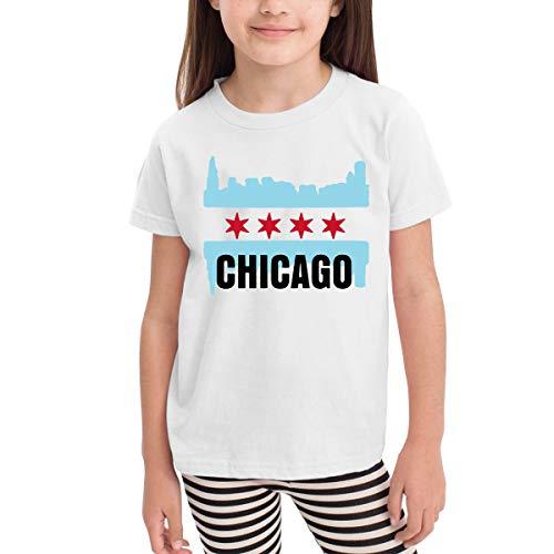 SHIRT1-KIDS USA Chicago Flag Costume Toddler/Infant Crew Neck Short Sleeve Shirt Tee for 2-6 Toddlers White ()