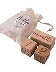 Baby Month Blocks Wooden Baby Milestone Age Blocks with Weeks Months Years, Baby Photoshoot Props