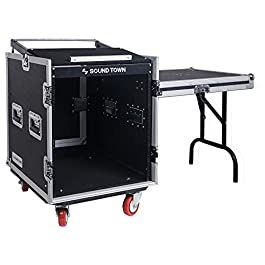 Sound Town 12U PA DJ Rack/Road Case with 11U Slant Mixer Top, 20'' Rackable Depth, DJ Work Table and Casters, 12-Space…