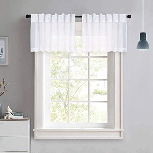 NICETOWN Short White Sheer Curtains - Small Window Rod Pocket & Back Tab Design Semi Voile Textured Sheer Valance for Basement, 55