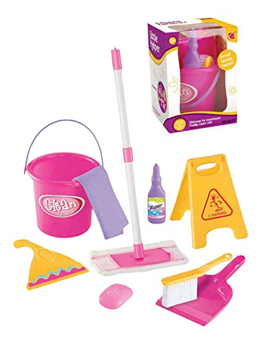 Little Helper Pretend Play Toy Cleaning Play Set w/ Mop, Bucket, and Accessories Pretend Play