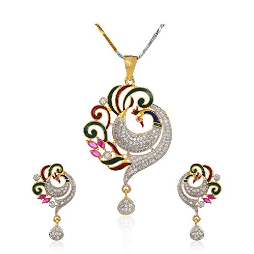 YouBella Jewellery Bollywood Ethnic Gold Plated Traditional Indian Necklace Pendant Set with Earrings