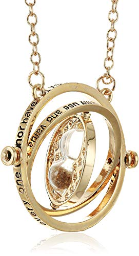 KalematStore Necklace for Time Turner Fans, Gold Hour Sand in a Red Velvet Pouch and Gift Box