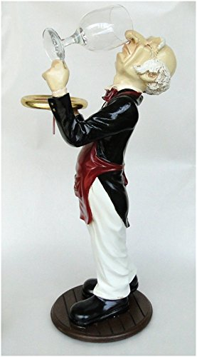 2' Tall butler snobby STATUE wine waiter with glass in Tu...
