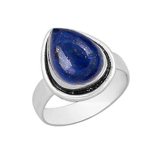 Genuine Pear Shape Lapis Solitaire Ring Silver Plated Vintage Style Handmade for Women Girls (Size-8) - Lapis Vintage Ring