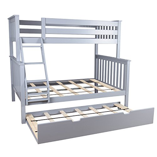 Kids Full Wood - Max & Lily Solid Wood Twin over Full Bunk Bed with Trundle Bed, Grey