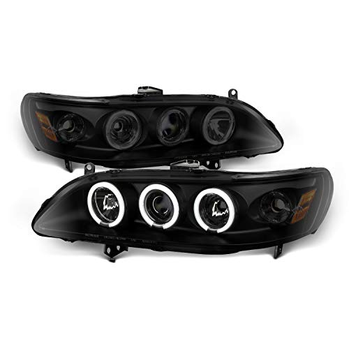 (For Honda Accord Black Smoke Dual Halo Projector Headlights Driver Passenger Replacement Lamps Pair)