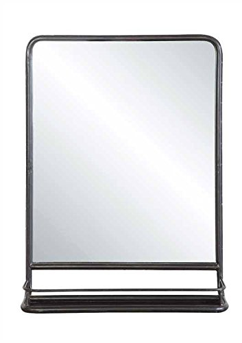 Creative Co-op Rectangle Metal Framed Wall Mirror with Shelf, Single Vanity, Black ()