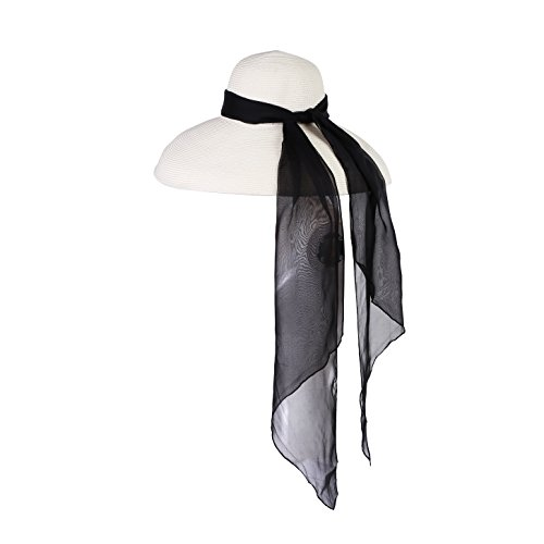 Utopiat Straw Hat with Silk Chiffon Scarf, Midnight Black, Premium Oversized Holiday by Utopiat