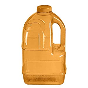 "1 Gallon BPA FREE Reusable Plastic Drinking Water Big Mouth ""Dairy"" Bottle Jug Container with Holder - Orange"