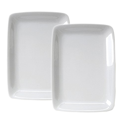 HIC Harold Import Co White Porcelain 8 x 12.25 Inch Rectangular Platter, Set of 2