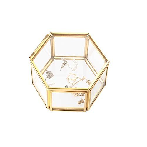Feyarl Jewelry Trinket Glass Box Ornate Ring Earring Box Preserved Flower Glass Box Organizer Decorative Box Storage (Gold)