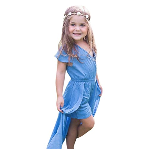 Rompers Dress for Girls - Franterd Baby Solid Summer Overalls Jumpsuits with long Hem Toddler Newborn Kids Clothes (4T, Blue)