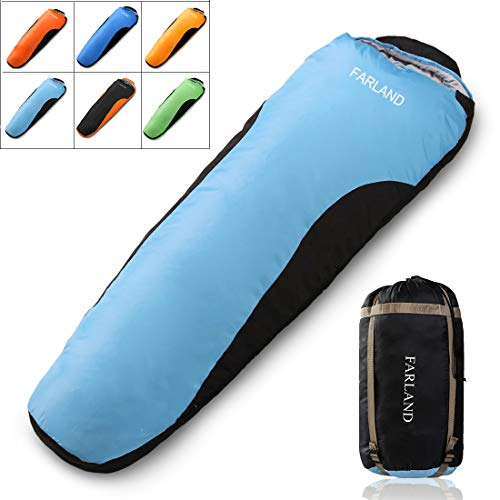 Envelope Sleeping Bag For Adults Teens Kid With Compression Sack Portable and Lightweight for 3-4 Season Camping, Hiking,Waterproof, Backpacking and Outdoors (Sky Blue & Black/Left Zipper, Mummy)