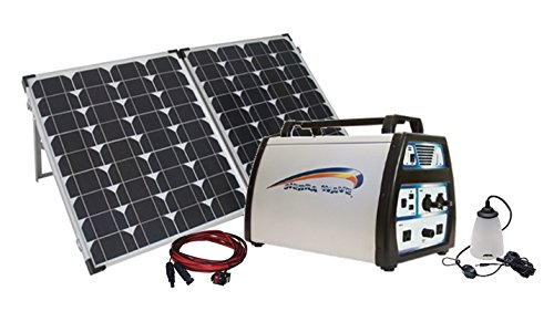 1500-Watt Solar Power Station with 1500-watt Lithium Generator, 120-watt Monocrystalline Folding Solar Panel with Case, Lamp & Extension by PowerSurvival.com