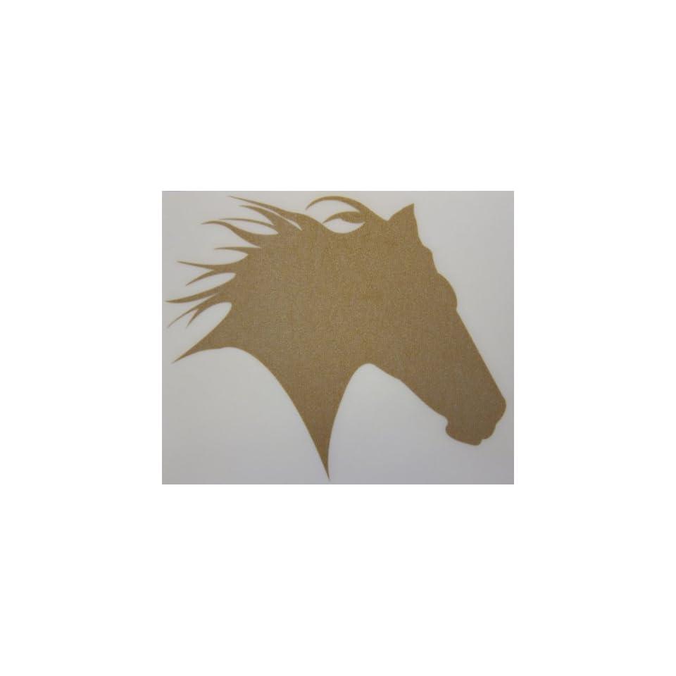 Small Gold Glitter Horse Head Silhouette Car, Truck Window