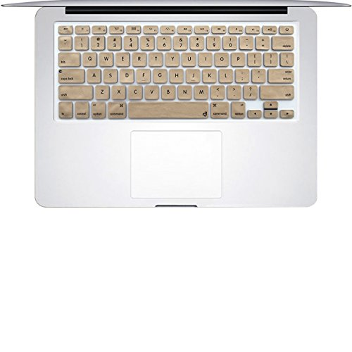 Masino Silicone Keyboard Cover Skin for 2015 or Old Version MacBook Air 13 MacBook Pro with/Without Retina Display 13 15 17 inch, Not Compatible with 2018 Air 13 (A1932) (Gold)