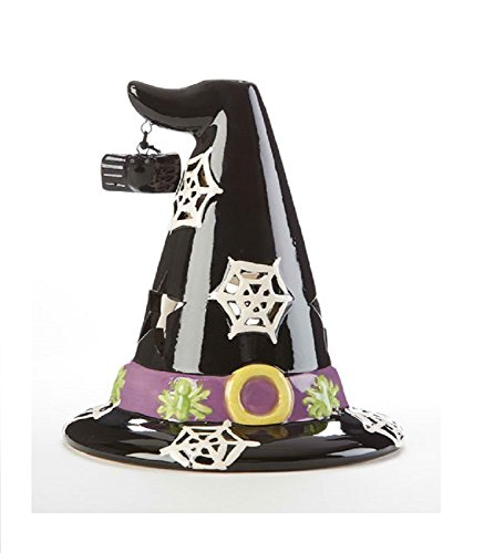 Delton Products Witch Hat 4.5 inches x 5 inches Ceramic Tea Light Holder Decoration -