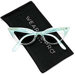 Vintage Cateyes 80s Inspired Fashion Clear Lens Cat Eye Glasses with Rhinestones (Gradient Blue Frame, 50)