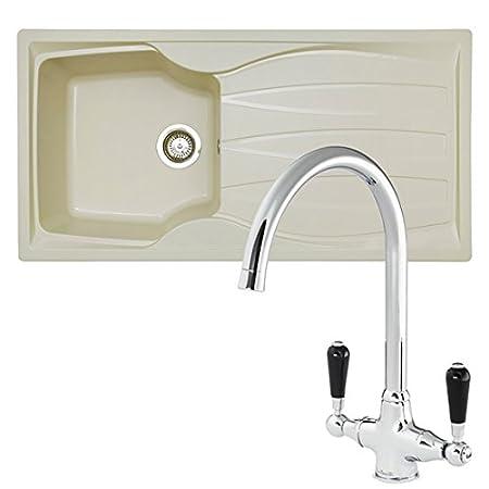 SIA CASA 1.0 Bowl Cream Composite Kitchen Sink & Reginox Brooklyn ...