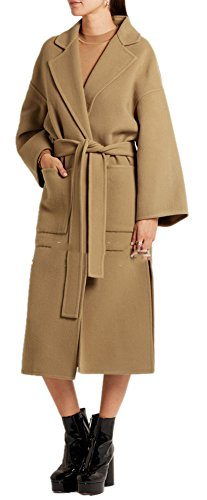 Lightweight Worsted Wool Suit (Women's Vintage Woolen Thicken Belted Slim Lapel Parka Long Trench Coat Brown)