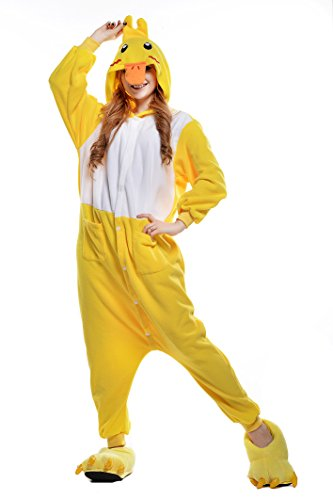 Newcosplay Warm Anime Costume Sleepsuit Adult Cosplay Dress Onesies Pajamas (S, yellow duck)