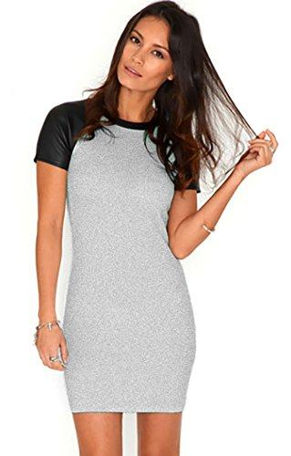 T Girocollo Top Donna Maglia Ecopelle Manico Di Mini Miniabito Grigio Corto shirt 323 Vestito A Abito tIqSwOvxn