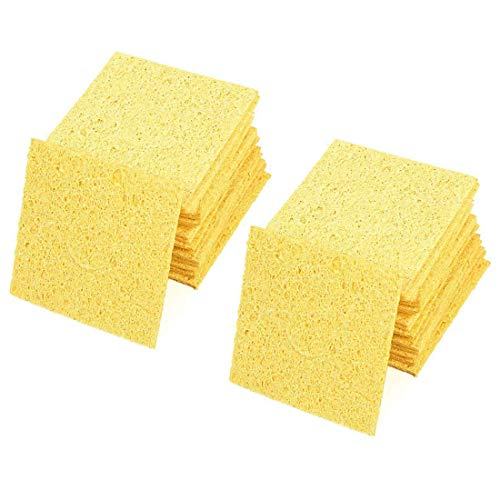 Aodesy Replacement Soldering Iron Cleaning Sponge Yellow 20Pcs Replacement Solder Tip Welding Clean Pads