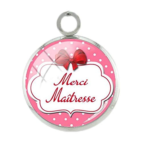 (Pendants -1Pc French Merci Picture Pendants Charms Thank You Silver Plated 12Mm Women Girls Glass Fashion Pink DIY Jewelry Ct309 - Ct309)