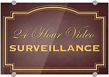 Classic Brown Premium Brushed Aluminum Sign CGSignLab 27x18 24 Hour Video Surveillance