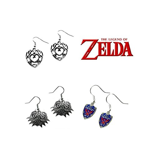 Legend Assortment - The Legend of Zelda Majoras Mask & Shield & Crystal Hearts (3-Pair Assortment) Cute Girl Dangle Earrings By Athena
