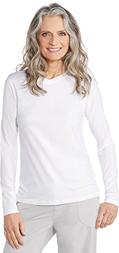Coolibar UPF 50+ Women's V-Neck T-shirt - Sun Protective,X-Large,White