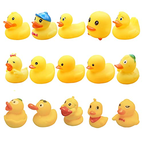 Graywhsky Rubber Duck Bathtub Toys Cute Ducky for Kids Toddler, Float and Squeak 2 Inches Bath Tub Duck Collection Set Floating Duck Baby Shower Bath Tub Pool Toys