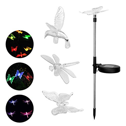 Aneil 3 PCS Solar LED Lawn Garden Light Butterfly & Dragonfly & Hummingbird Stake Light Garden Colorful Decorative Lamp by Aneil