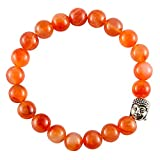 Aatm Reiki Energized Gift Natural Gemstone 7-8mm Round Beads Buddha Beaded Carnelian Gemstone Chakra Stretch Bracelet Unisex for Healing (Stone of Self Motivation) …