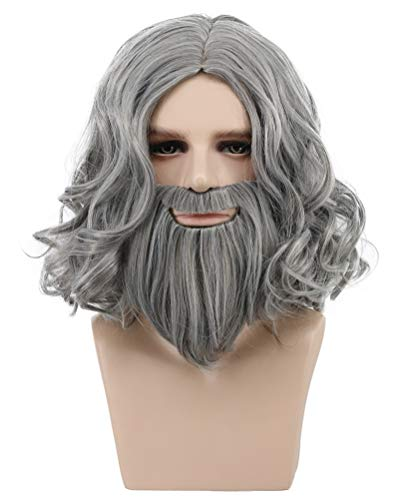 VGbeaty Mens and Women Long Curly Gray Mustache Beard Wig Halloween Costume Anime Cosplay Wig -