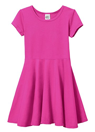 (City Threads Little Girls' Short Sleeve Twirly Circle Party Dress Perfect For Sensitive Skin/SPD/Sensory Friendly For School or Play Fall/Spring, Hot Pink, 6)