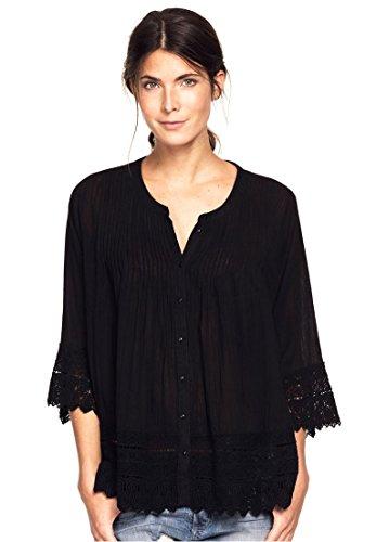 Ellos Women's Plus Size Crochet Trim Blouse Black,1X