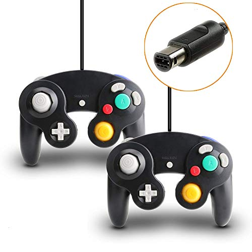 TRVL FIELDER Gamecube Controller, 2 Packs Classic Wired Controllers Compatible with Wii Nintendo - Ascii Keyboard